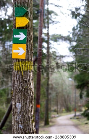 Arrow signs on tree indicating jogging or walking paths of different lengths in scandinavian forest - stock photo