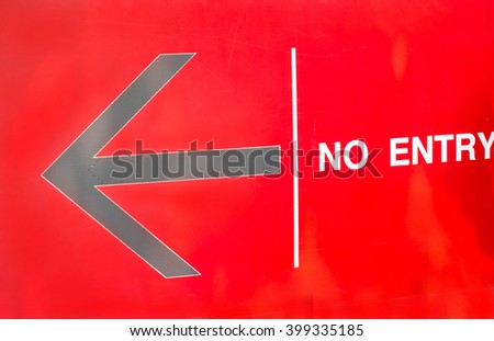 Arrow Symbol-No Entry-red background - stock photo