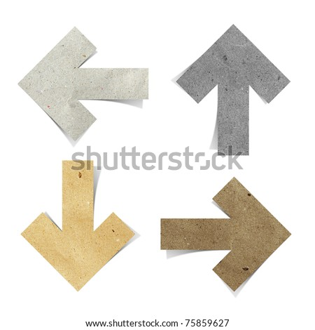 arrow tag recycled paper craft  stick on white background - stock photo
