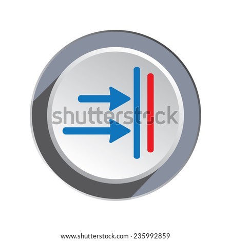 Arrow to right icon. Move, direction cursor sign.  Guide, time limit symbol. Two pointers blue silhouette on circle grey button.  - stock photo