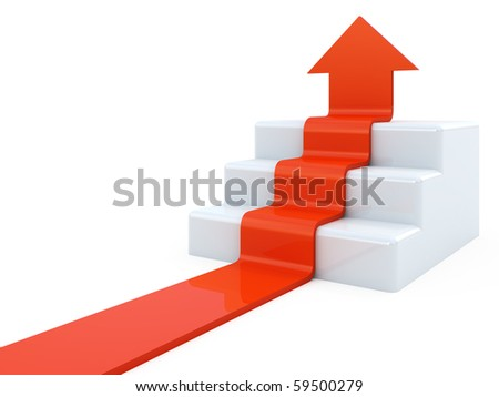 Arrow upstairs - stock photo