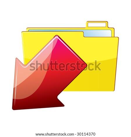 Arrow with a folder - stock photo