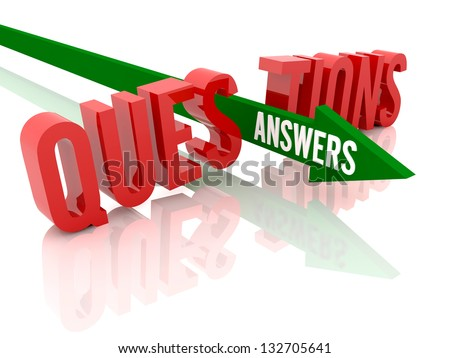 Arrow with word Answers breaks word Questions. Concept 3D illustration. - stock photo