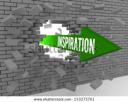 Arrow with word Inspiration breaking brick wall. Concept 3D illustration. - stock photo