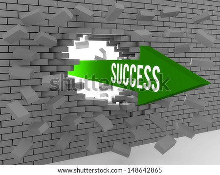 Arrow with word Success breaking brick wall. Concept 3D illustration. - stock photo