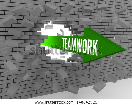 Arrow with word Teamwork breaking brick wall. Concept 3D illustration. - stock photo