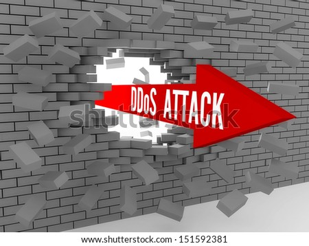 Arrow with words DDos Attack breaking brick wall. Concept 3D illustration. - stock photo