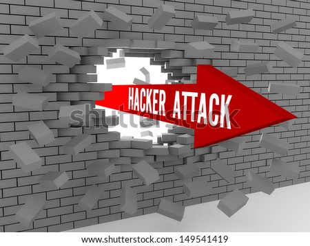 Arrow with words Hacker Attack breaking brick wall. Concept 3D illustration. - stock photo
