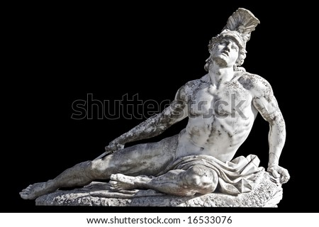 Arrow wounded Achilles statue ready cropped on black background. Achilleion palace, Corfu island, Greece