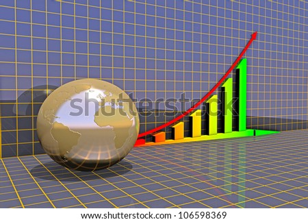 Arrowed business chart and globe over grid - stock photo