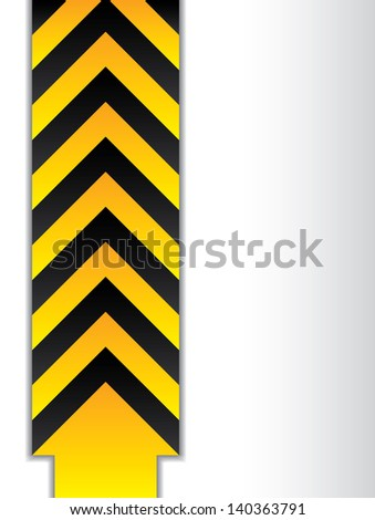 Arrowed danger sign with shadow on blending background - stock photo