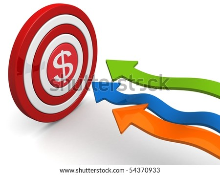 Arrows aiming dollar sign dartboard targeting concept 3d illustration - stock photo