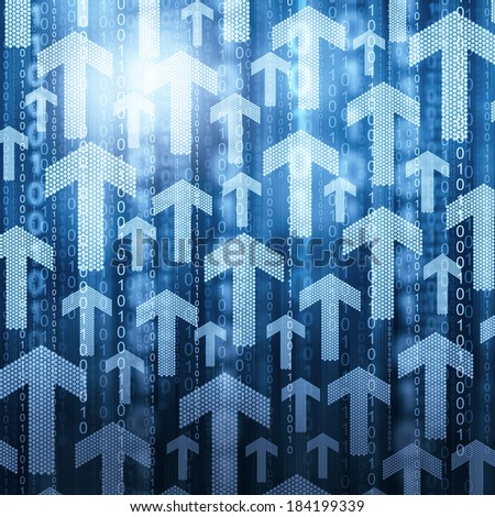 Arrows and binary code  - stock photo