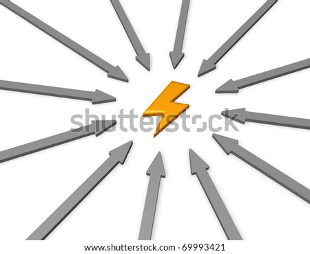 arrows and golden flash - 3d illustration