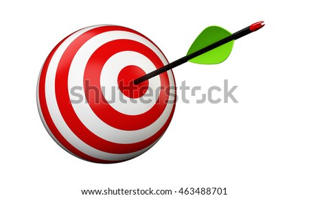 Arrows and target isolated on white background, 3D illustration