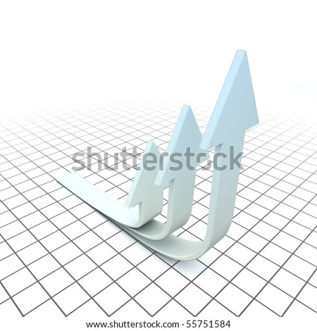 Arrows are symbols of evolution. Arrows are looking up.  Three-dimensional,  isolated on white. - stock photo