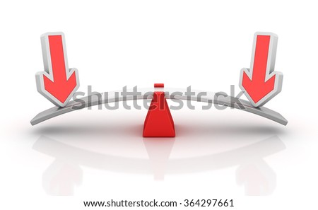 Arrows Balancing on a Seesaw - Balance Concept - High Quality 3D Render  - stock photo
