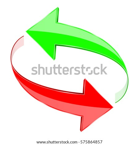 Arrows, circulation sign. Red and green. 3d illustration isolated on white background. Raster version. [image by https://www.shutterstock.com/]