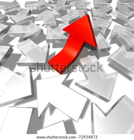 Arrows confusion A group of white arrows pointing to all directions and one red arrow pointing upwards. 3d - stock photo