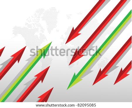 Arrows going in opposite directions. illustration design - stock photo