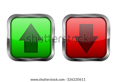Arrows. Green and red glass button. UP and DOWN icon. illustration isolated on white background. Raster version. - stock photo