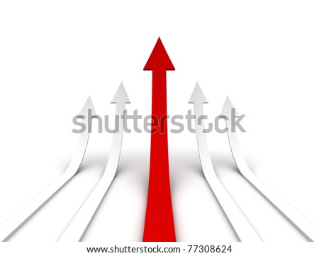 Arrows growth single red taking the lead - stock photo