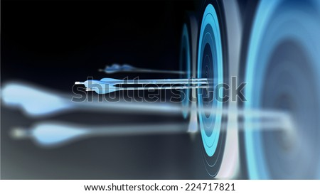Arrows hit targets in negative colors. - stock photo