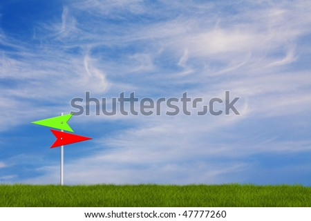 arrows in red and green signs the right way illustration