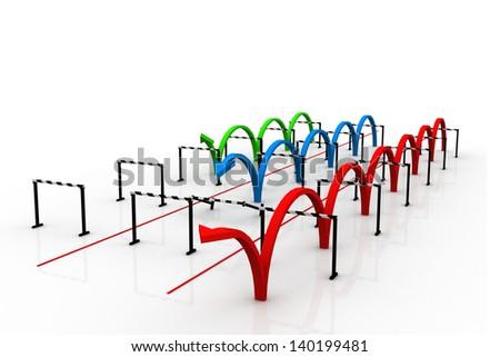 Arrows jumping over hurdles - stock photo