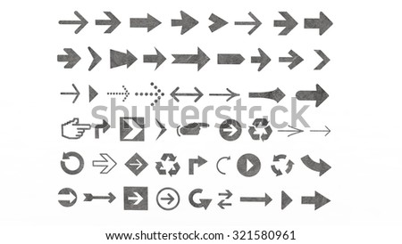 Arrows of various shapes for buttons and indicator for web sites and application for phones