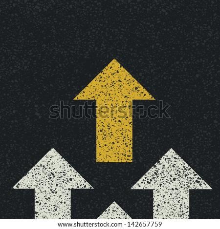 Arrows on asphalt road. Teamwork concept. Raster version, vector file available in portfolio. - stock photo