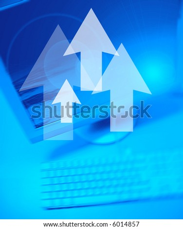 Arrows on Personal Computer background - stock photo