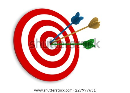 Arrows on Target isolated on white background