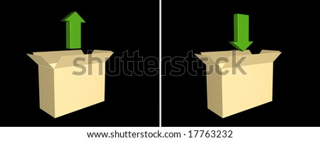 Arrows over boxes - over black background - stock photo
