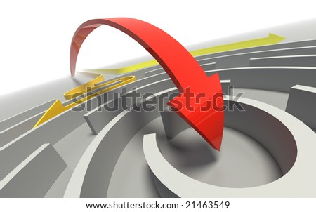 Arrows passing through a labyrinth, one has achieved the object. - stock photo