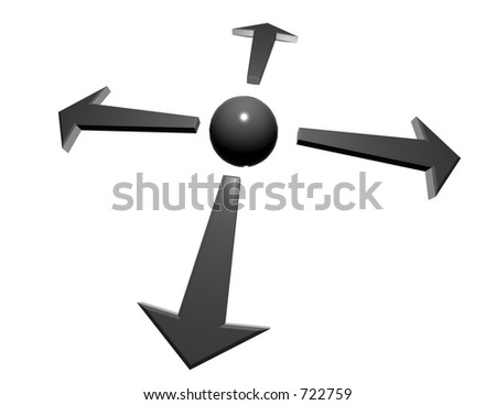 arrows pointing from hub at center - stock photo