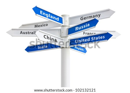 Arrows pointing to different countries of the world on a crossroads sign - stock photo