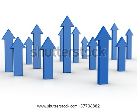 Arrows pointing up business and financial growth concept 3d illustration - stock photo