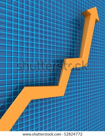 Arrows pointing up to a raising graph 3d illustration - stock photo