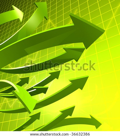 Arrows pointing up with graph and background 3d illustration - stock photo