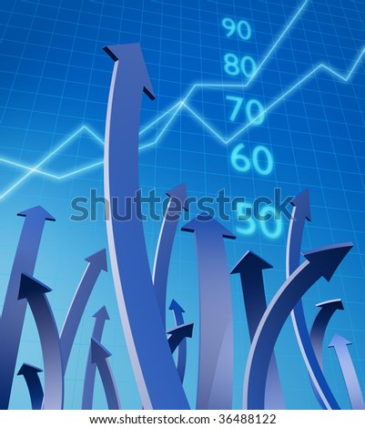 Arrows pointing up with graph and number at background 3d illustration - stock photo