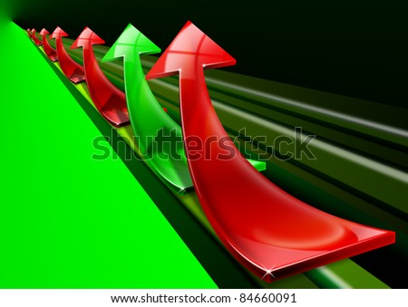 Arrows red and green curved upwards, the concept of economic success and business - stock photo