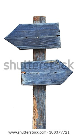 Arrows road sign isolated on white - stock photo