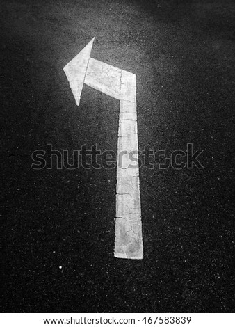 Arrows show the direction on the road.