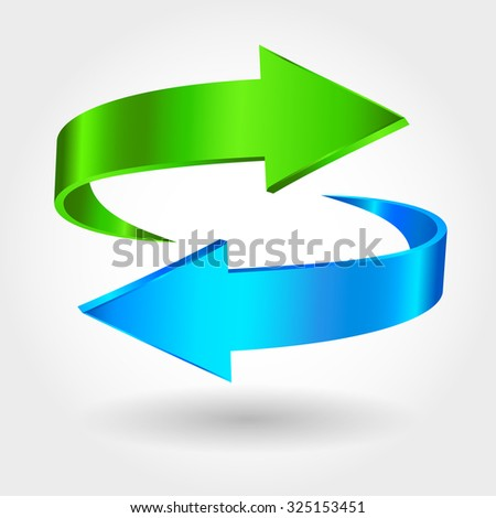 Arrows Sign. Blue Green Color. Isolated On White