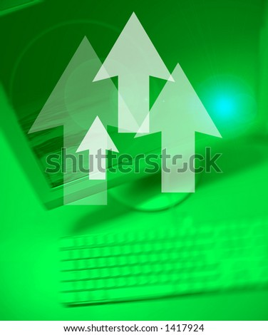 Arrows symbol on Personal Computer background