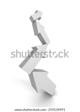 Arrows Team Group Rising Up Step By Step. Success Concept 3d Render Illustration - stock photo