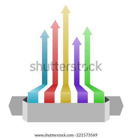 arrows up design with gray banner - stock photo