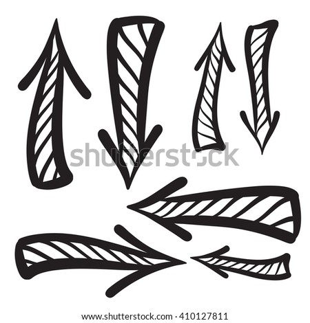 Arrows vector hand drawn set icons illustration, perfect for web, office, right, left, up and down - stock photo
