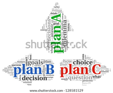 Arrows with plan A plan B and plan C word tag clouds, difficult choice concept - stock photo